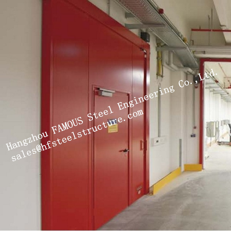 PU Sandwich Core Painted Surface Steel Fireproof Doors For Warehouse Storage