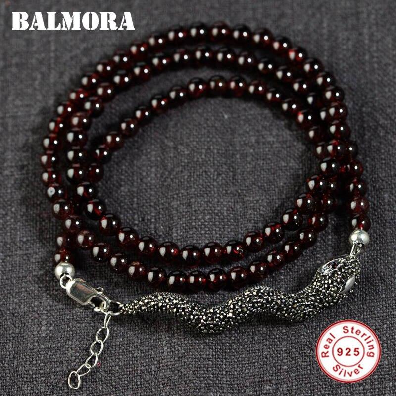 BALMORA 925 Sterling Silver Mosaic Snake Bracelets for Women Mother Gift about 47cm Vintage Animal Bead Bracelet Jewelry S0250