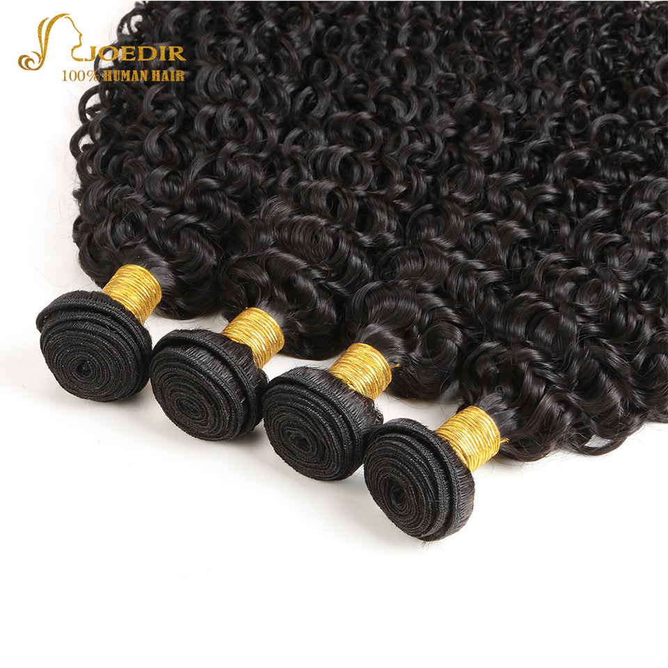 JOEDIR Hair Brazilian 4 Bundles Deals Afro Kinky Curly Hair Extensions 10 To 26 Inch Non Remy NATURAL BLACK Human Hair Bundles