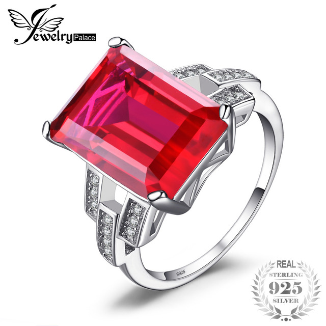 JewelryPalace Luxury Emerald Cut 9.2ct Created Red Ruby Cocktail Ring 925 Sterli