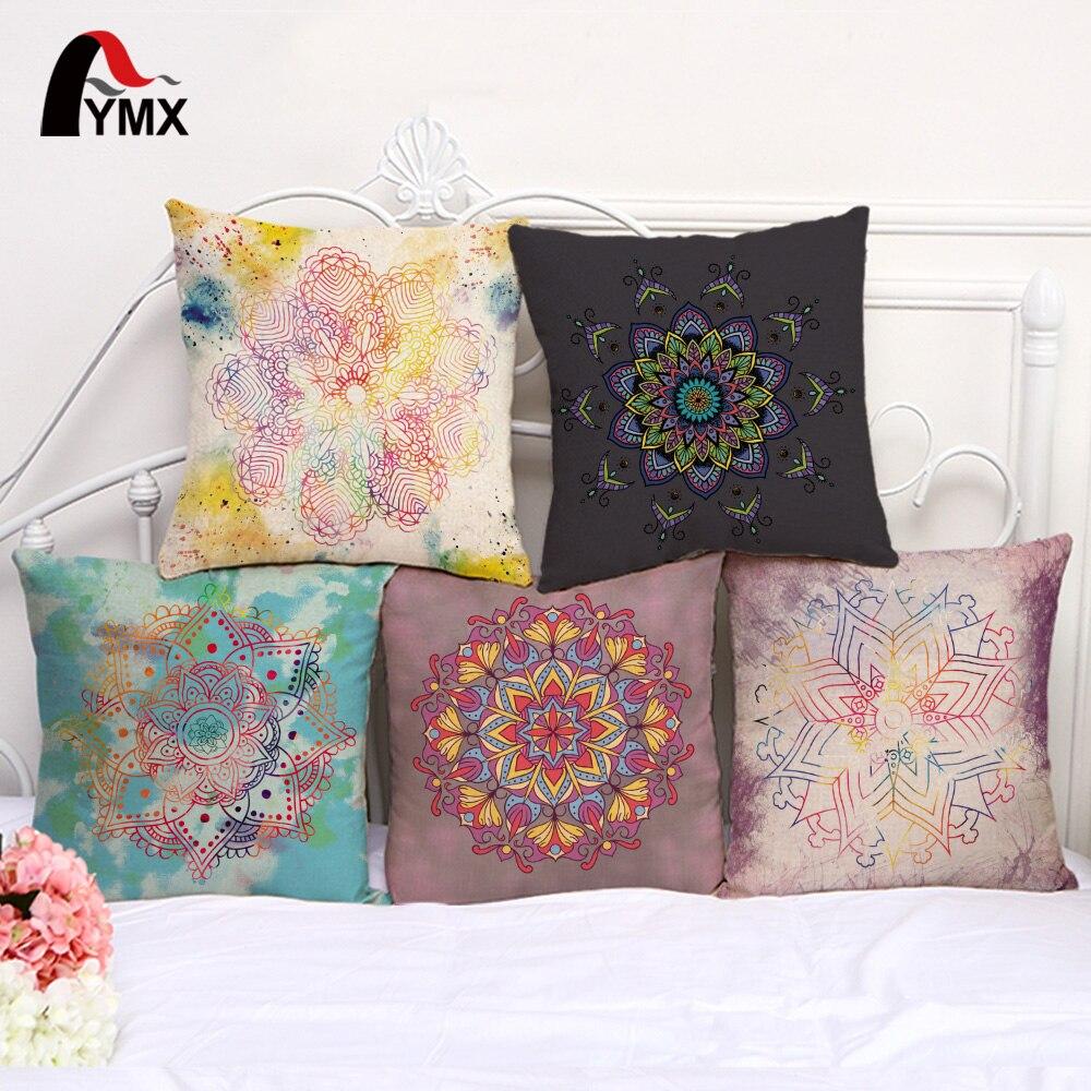 2018 New Hand-painted Mandala Pillow Case Cotton and Linen Car Sofa Cushion Cover India Mandala Pillowcases Home Decoration