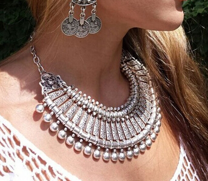 Gypsy boho coin metal carved flower ball bib statement collar gypsy boho coin metal carved flower ball bib statement collar necklace boho festival silver bib ethnic turkish india jewelry in chain necklaces from jewelry aloadofball Images