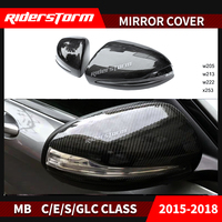 Carbon Fiber Rear View Mirror Cover Mirror Caps Door Side Wing for Mercedes Benz C/E/S Class W205 2015+ Replacement Auto Parts