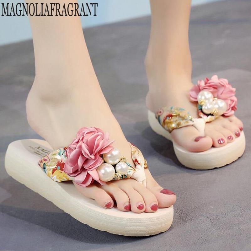 Flat Sandals Slippers Flip-Flops Flowers Women's Shoes Casual-Clip Handmade Beach Summer