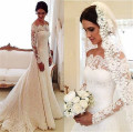 Elegant Long Sleeve Lace Mermaid Wedding Dresses Simple Boat Neck Buttons Back Wedding Gowns Cheap Lace Mermaid Bridal Dresses