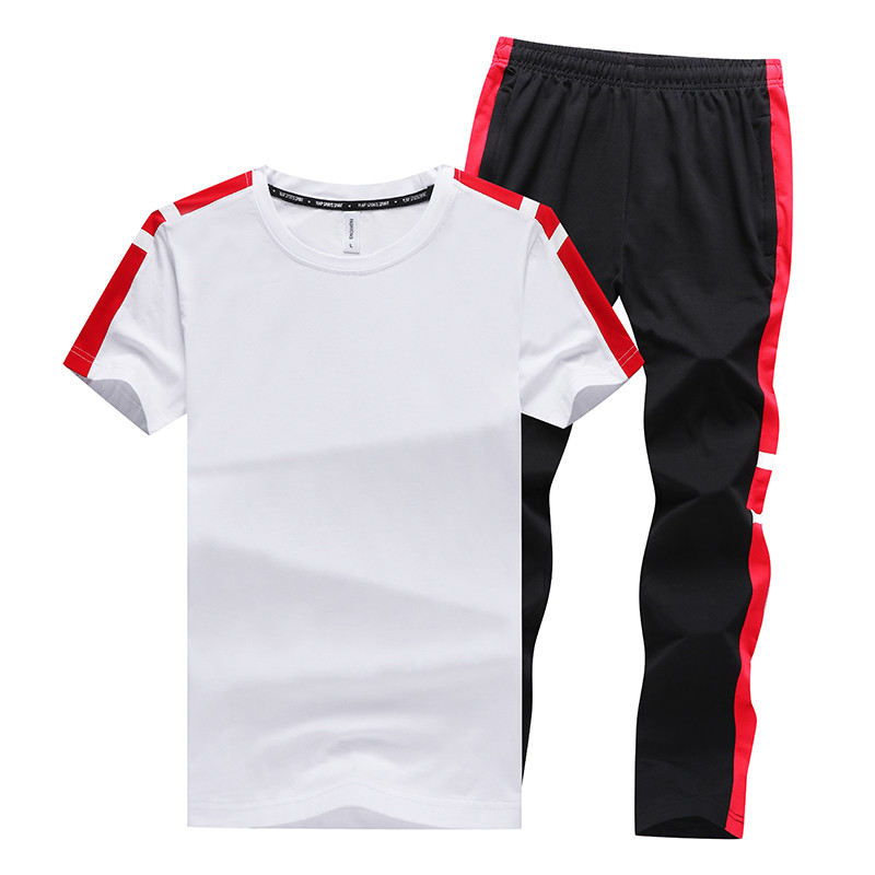 Men's Sets T Shirts+Long Pants Two Pieces Sets Casual Tracksuit 2019 New Summer Male Slim Fit Sportswear Suit Plus Size 5XL 6XL