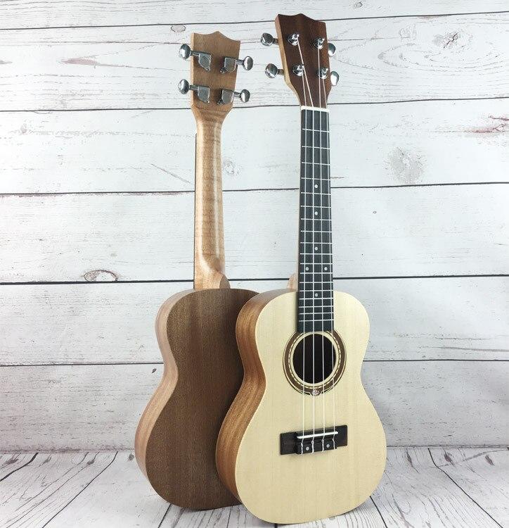 23 inch Sapele Spruce Ukulele MINI Guitar 4 Strings Wood Color For Beginner 42 inch sapele veneer wood guitar veneer acoustic guitar technique of lacquer bake dumb light suitable for teaching performance
