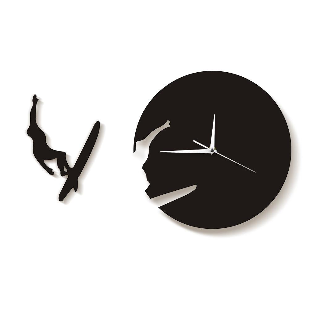 Surfing Time Clock Watch Summer Gift For Surfing Lovers Avid Surfers 3D Wall Art Home Decor Living Room Clock Modern Wall Clock
