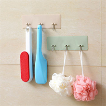 ABFP Home Strong Paste Seamless Hook Nail-Free 3 Even Hook Kitchen Bathroom Sucker Paste Wall Towel Brush Scissors