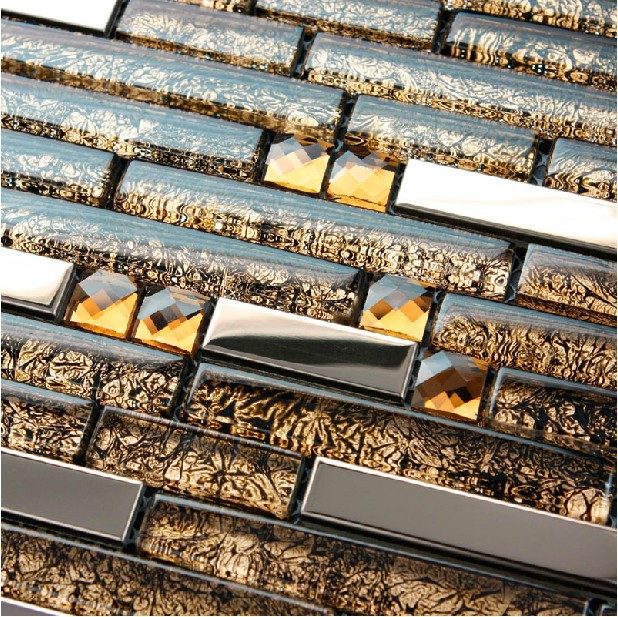 Brown Short And Long Strip Glass Mixed Metal Stainless Steel Diamond Mosaic Tile Sheet Dining