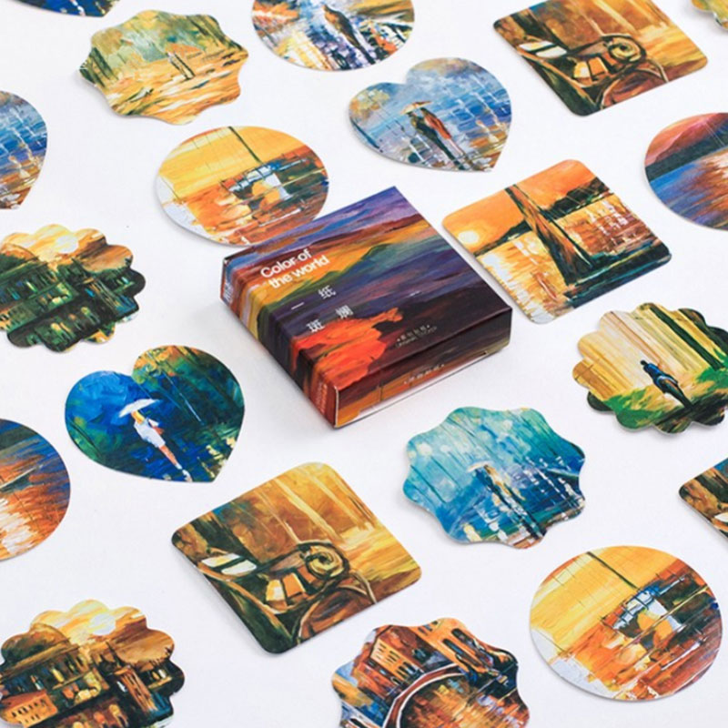 45 pcs/lot Colorful world sealed paper sticker DIY decoration sealed envelope  Scrapbooking Sticker Stationery kawaii stickers world outside the window paper