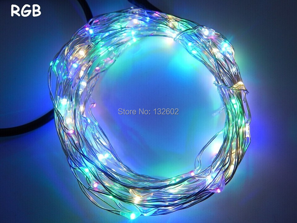 5pcs 10M 100 LEDs RGB Light Silver / Copper Wire LED String Fairy Lights starry lights , with Power Adapter (UK,US,EU,AU Plug)