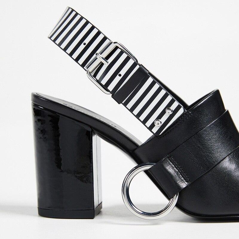 Black Mode Newset Bout En Vache Femmes À Parti Talons Femme Cuir Robe Sandales Sexy Hauts Ouvert Qualité Occasionnels Vankaring Chaussures 2018 bf76yvIYg