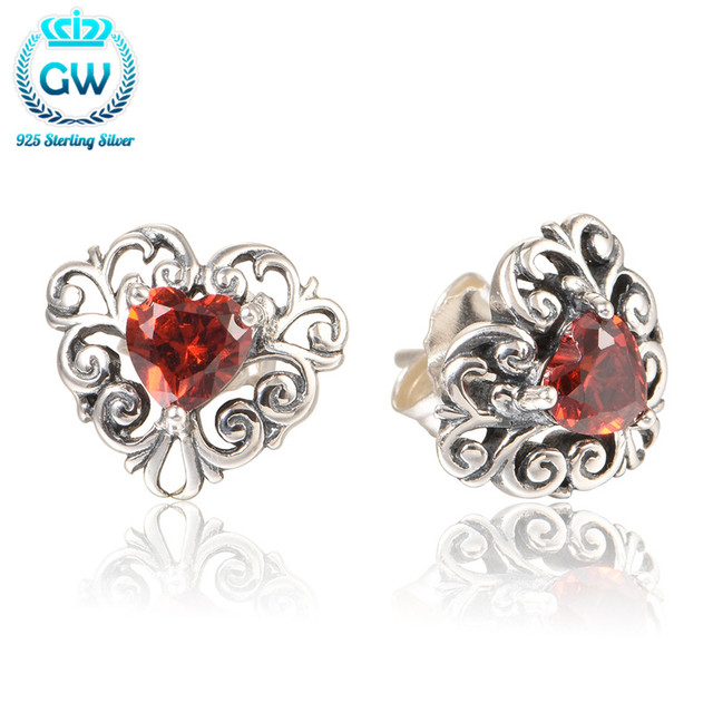 Silver 925 Jewelry Heart Shaped Clip Silver Earrings For Women Wedding Jewelry Brand GW Jewellery Er1055