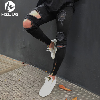 HZIJUE 2018 Hi-Street Men Knee Eversion Ripped Big Hole Men Jeans Streetwear Skateboard Straight Pants Man Casual Elastic Jeans 1