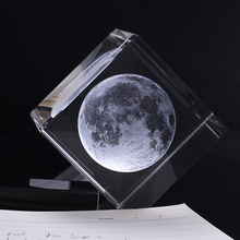 3D Laser Engraved Moon Crystal Cube K9 Crystal Craft Sphere Home Decor Ornament Globe Birthday Gift Decoration Accessories(China)