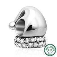 ChaWin 925 Sterling Silver Santa Claus Hat Charm Bead Fits Pandora Charms Bracelets Necklaces