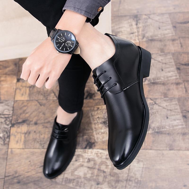 Men's Quality Leather Shoes Social Top Head Leather Autumn Office Shoes Lace Up Soft Man Dress Business Wedding Party Shoes L5