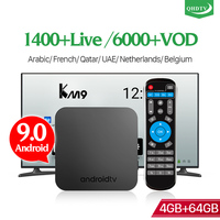 IPTV France Best Arabic QHDTV H.265 Android 9.0 KM9 4G 64G IP TV Box Dual Band WIFI 1 Year Code 4K IPTV Benelux BT 4.0 IP TV box