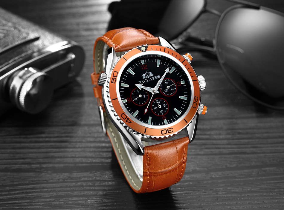 HTB1eRNVXpuWBuNjSszbq6AS7FXaE Men Automatic Self Wind Mechanical Stainless Steel Strap James Bond 007 Style Orange Blue Black Dial Bezel Classic Watch
