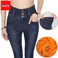 Veludo Alongamento Quente calças de Brim Das Mulheres Com Cintura Alta Jeans Preto Mulheres Inverno Tamanho Grande Cashmere Trecho Magro Trouse