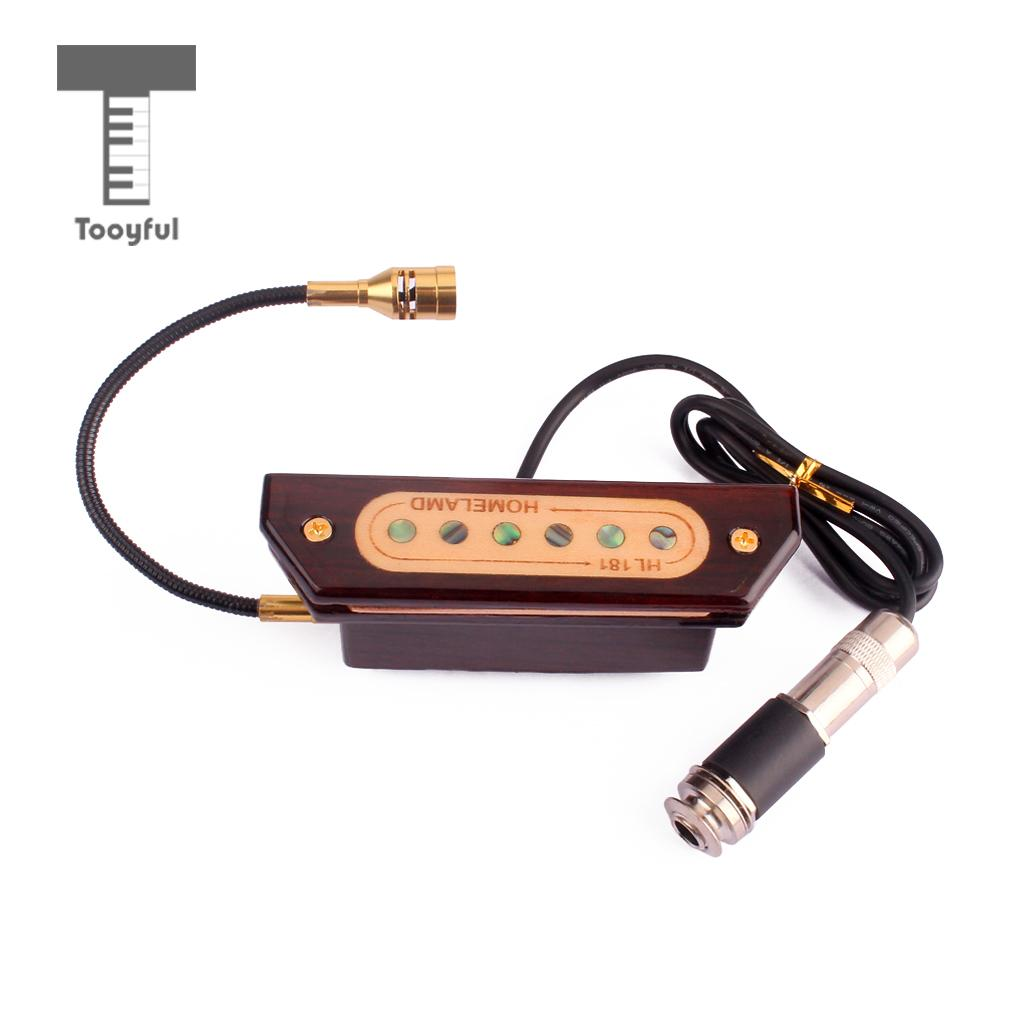 Tooyful Replacement Rosewood Magnetic Sound Hole Pickup with 6 35mm Plug for Classical Acoustic Guitar Accessory