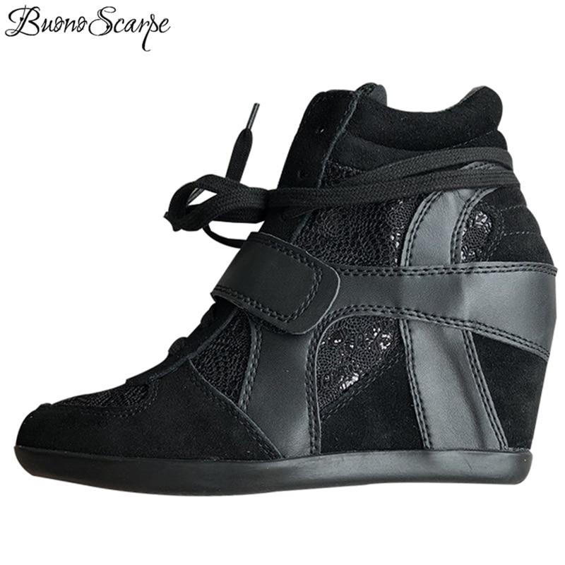 BuonoScarpe Femmes Hauteur Croissante Chaussures À Talons Lace Up Sneaker Chaussures Brand Design Plate-Forme Cales Chaussures En Cuir Véritable CasualShoes