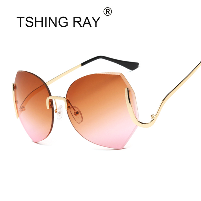 c3d9f133ef TSHING Fashion Elegant Oversized Rimless Gradient Sunglasses Women Luxury Diamond  Cut Lens Big Optics Glasses Female