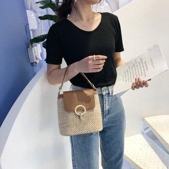 Small Straw Bucket Crossbody Bag 1