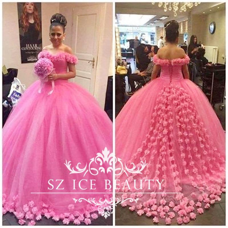 Popular Pink Fluffy Wedding Dress-Buy Cheap Pink Fluffy Wedding ...