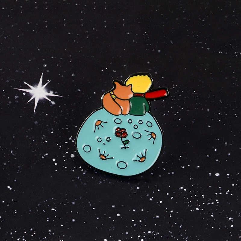 Jangan Menjadi Membosankan Orang Dewasa! Le Petit Prince B-612 Planet Kecil Prince Fox Mawar Klasik Dongeng Keras Enamel Bros Pin