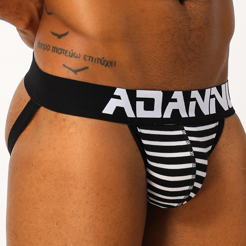ADANNU Sexy Gay Men's Jockstrap Men Underwear Male Briefs G String Thongs Cueca Man Panties Bikini Stripe Underpants AD126