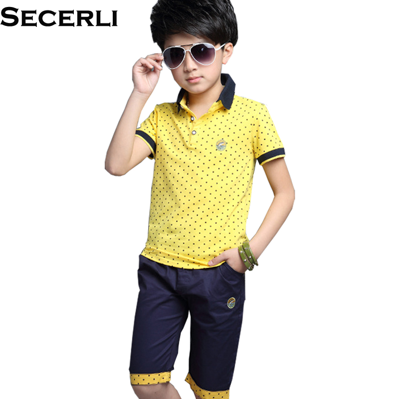 Boys Clothing Sets Summer 2018 Cotton Teenage Kids Boys Suit For 4 6 8 10 12 14Years Children Short Sleeve Dot Shirt Shorts Set ujar brand dot patchwork short sleeve shirt boys shorts set childrens summer sets u52a705