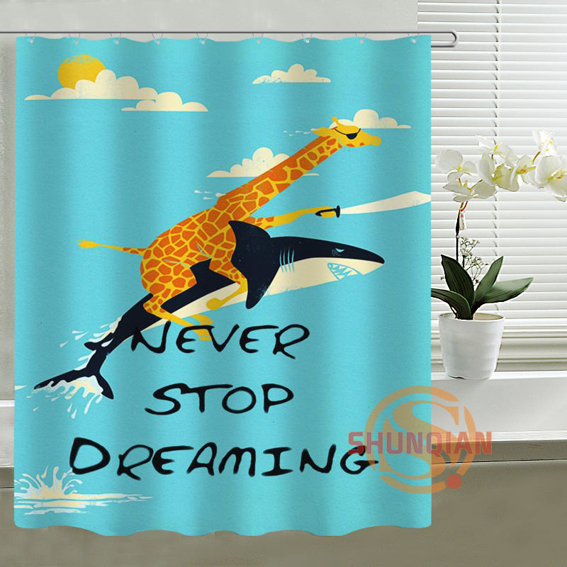 Custom Shower Curtain Shark cartoon Bath curtain Waterproof polyester Fabric Shower Curtain For Bathroom