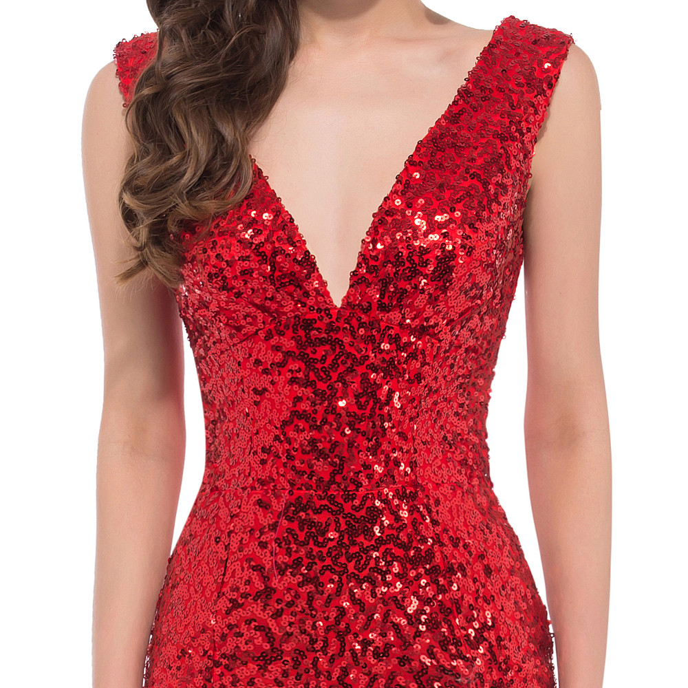 2016 Red Sequins Robe De Soiree Vestidos De Fiesta Dubai Arbaic V Neck Mermaid Evening Pageant Dress Robe De Soiree Robe Depageant Evening Dresses Aliexpress