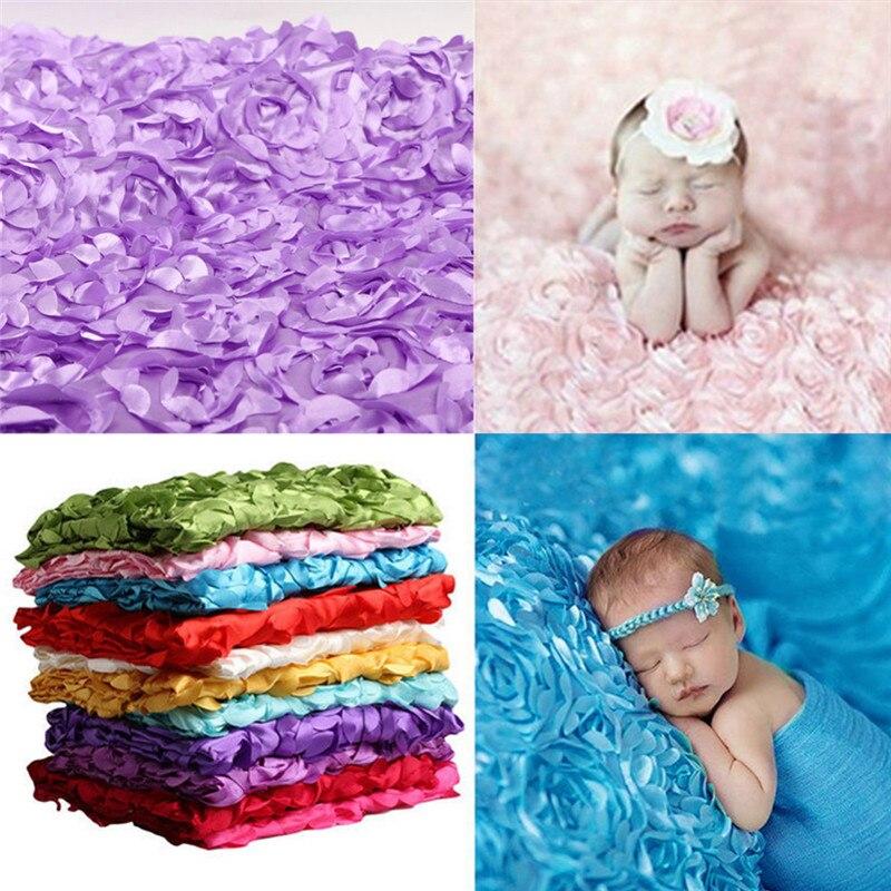 Glorieus Hot Verkoop Baby Fotografie Photo Props 3d Rose Bloem Achtergrond Zitzak Deken Deken Kleurrijke Rose Dekens