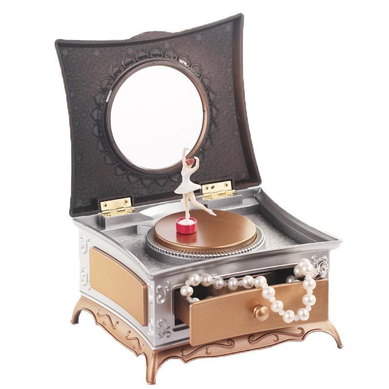 Creative Dancer Rotating Music Box Classical Drawer Makeup Mirror Music Box Jewelry Storage Box To Send Girlfriend Gift Box Gift