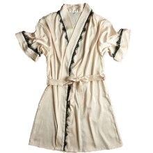 New Summer Hot Sale Women's Satin Lace Short Robe Solid Kimono Bathrobe Gown Sexy Peignoir Wedding Bride Bridesmaid Robe Dress