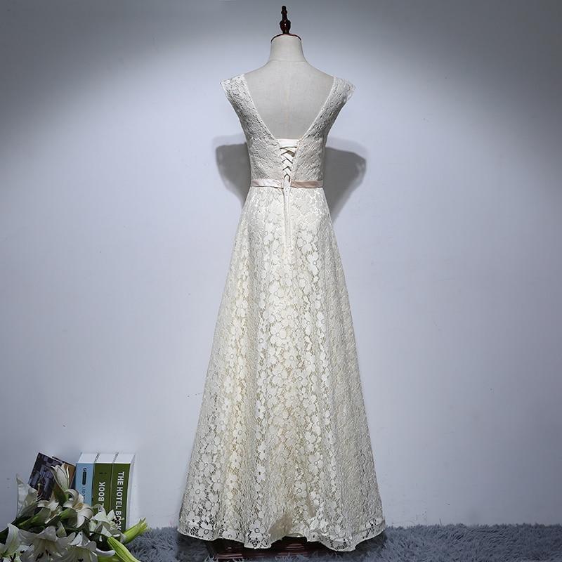 Levné šaty Matky Nevěsty Dlouhé 2017 A Line V Neck Lace Pouta - Šaty pro svatební hostiny - Fotografie 2