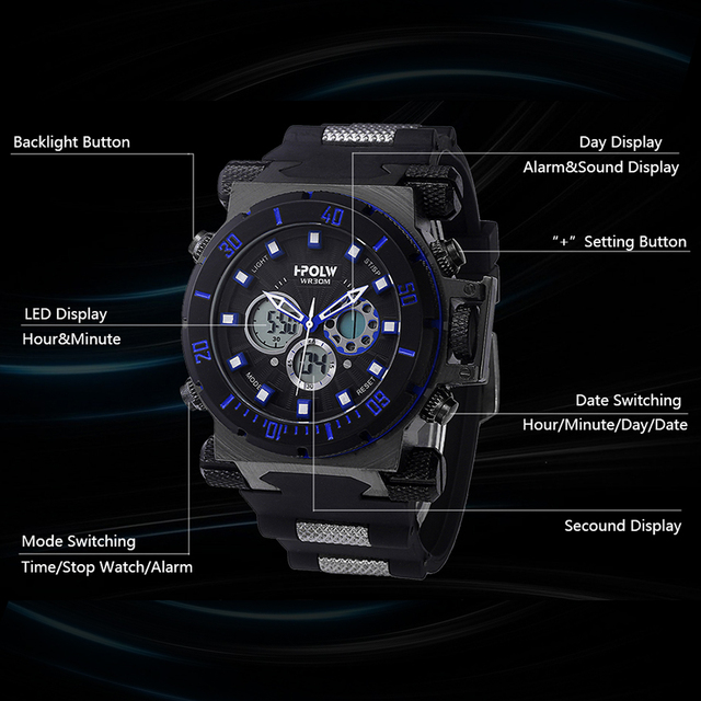 HPOLW Luxury Brand Mens Sports Watches Dive Digital LED Military  Watch Men Fashion Casual Electronics Wristwatches Clock 1