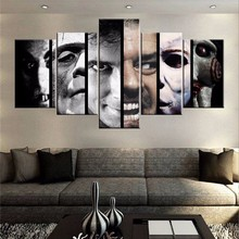 Modern Wall Art Canvas Printed Special 5 Panel Horror Movie Characters Painting Modular Decor Picture