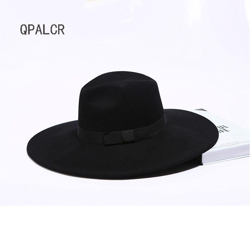 QPALCR Unisex Vintage lana de ala ancha sombrero Fedora hombres Chapeau  Jazz Cap mujeres fieltro Otoño Invierno sombreros negro gris marrón caqui -  Memang ... abb85be2ae3