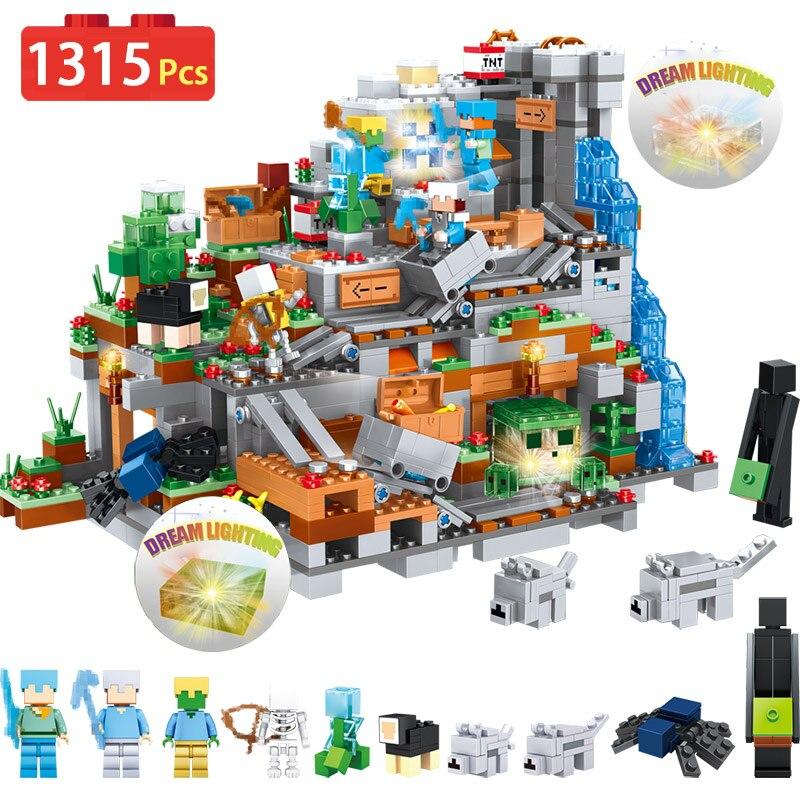 Новые 3D световые органы пещеры блоки Совместимые LegoINGLYS Minecrafted строительные блоки замок деревня серии игрушки для детей