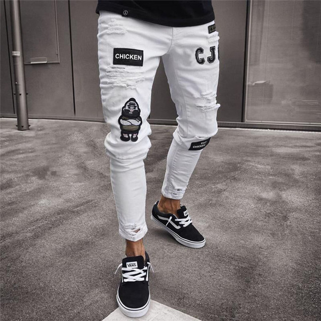 Vintage Ripped Jeans Super Fit Zipper Denim Pant