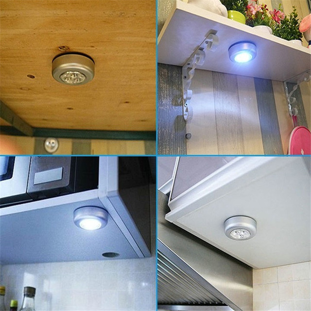 Silver 3 LED Closet Cabinet Lamp AAA Battery Powered Wireless Stick Tap Touch Push Security Kitchen Wall Car Night Light