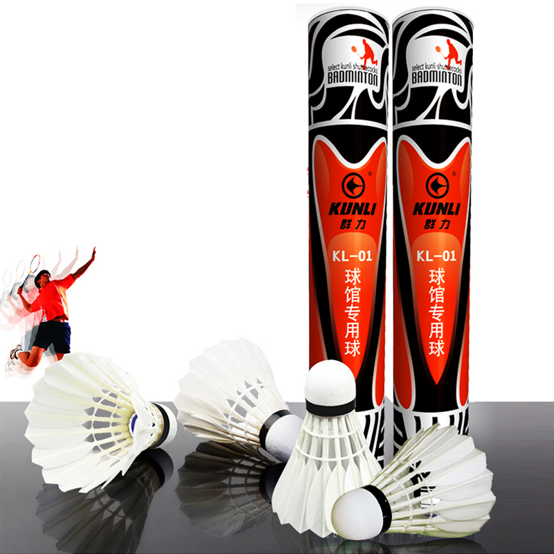 KUNLI 01 Top class duck feather badminton shuttlecock 12 pcs dozen feather shuttlecock for competition 5dozen
