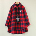 2016 New Fashion Spring And Autumn Pregnant Clothing Long Design Maternity Clothing Red Plaid Turn Down Collar Long Sleeve Shirt