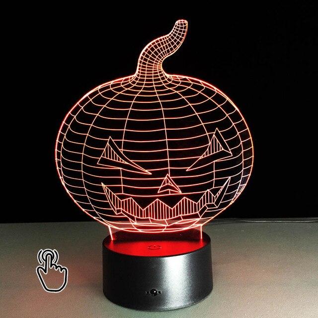 3D LED Halloween Pumpkin Lamp Hologram Illusion Night Light Decorative Kids  Basketball Style Desk Lamps Illusion