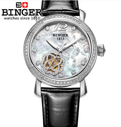 2017 Fashion watches luxury brand Binger stainless steel women Leather Flower wristwatches Rhinestone Switzerland watch luxury brand binger new style watch round stainless steel fashion wristwatch for women automatic self watches tourbillon 1853
