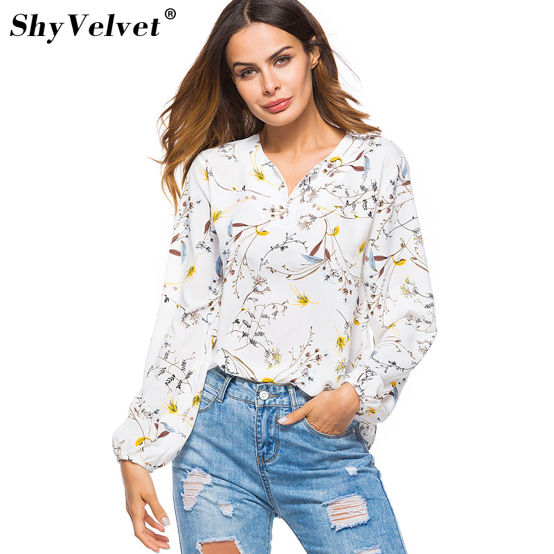 Womens Floral Print Shirt Long Sleeve V-neck Loose Blouse Office Ladies Work Wear Retro Spring Summer Casual Tops Blusas